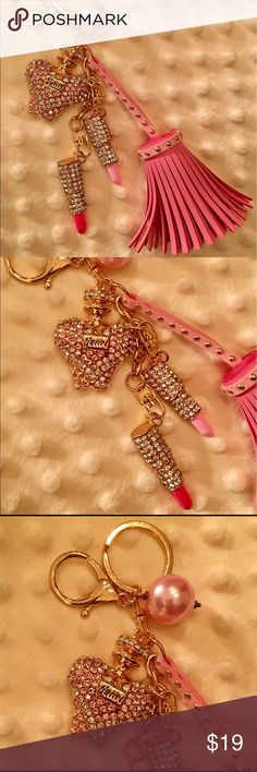 HOLD FOR @MAKEMINEPINK 🌸🌸🌸 NWOT! Sparkly Rhinestone PInk Perfume Bottle, and Lipstick 👄👄, One Red & One Pink, Keychain/Bag Charm! I've added a PU Leather Studded Tassel and a Large Pink Pearl Charm! Made with Gold Tone Lobster Claw & Jump Ring. All the keychains I'm offering are well made & are CUSTOM. You won't find another like this except here! This is FOUR Keychains put together to make something prettier! From non-smoking home. Accessories Key & Card Holders