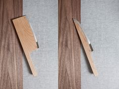 with a handle and blade realized in solid maple wood, finished with a metal edge for cutting, the design reduces the size and visual weight of a knife.