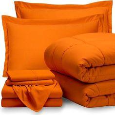 Orange Comforter, Twin Xl Comforter, Queen Comforter Sets, Comforter Cover, Orange Bed Covers, Creative Beds, Dorm Bedding Sets, Vintage Bedspread, Bedroom Orange