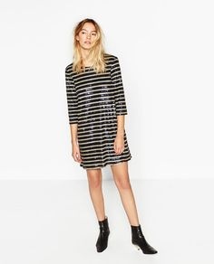 Image 1 of STRIPED SEQUINNED DRESS from Zara