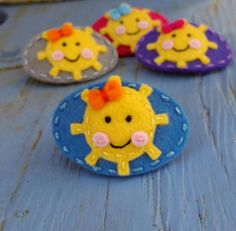 Happy-Sun-blue-wool-felt-snap-hair-clip by Berry Cool Designs, $ 6.00