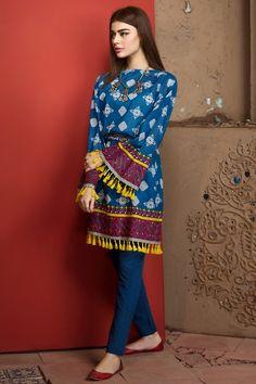 Khaadi 2 Piece Stitched Printed Lawn Suit - J17203-A - Blue - libasco.com    #khaadi #khaadionline #khadiclothes #khaadi2017 #kaadisummer