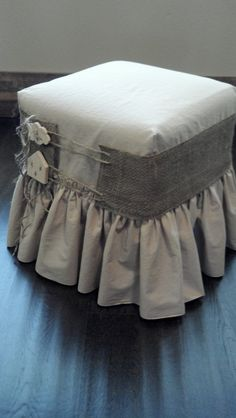 Ruffled Ottoman Slipcover by PleasantLeeHome on Etsy, $36.00