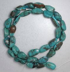 """Turquoise Loose Nugget Beads Natural Colors 16"""" Craft Jewelry Stabilized  #851 #Erthart #Southwest"""