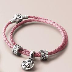 The Pandora double pink leather strap charm bracelet