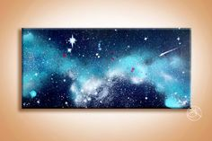 Blue Galaxy Painting - Wall Art - Space Art - Spray Paint Art - Paintings on Canvas - Galaxy Painting - Outer Space - Valentines Day Gift