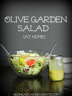 How to make your own Olive Garden Salad, just like there's but way better for you! This version is made with olive oil. How to make your own Olive Garden Salad, just like there's but way better for you! This version is made with olive oil. Healthy Recipes, Great Recipes, Cooking Recipes, Favorite Recipes, Simple Salad Recipes, Lettuce Salad Recipes, Italian Salad Recipes, Simple Salads, Green Salad Recipes