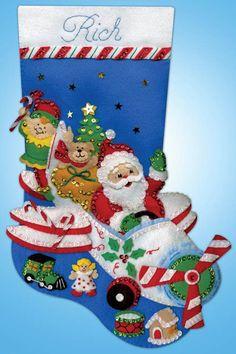 Image result for santa airplane stocking design works