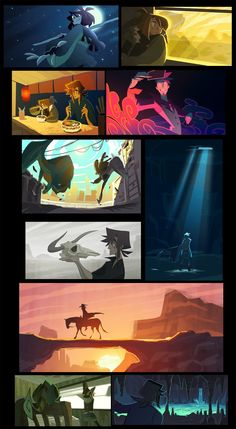Compilation of previous CF color scripts. Hope you all had a very happy and a very full Thanksgiving! Right click+Open link in new tab for a much better view =) Color Script, Modelos Low Poly, Character Art, Character Design, Animation Storyboard, Arte Sketchbook, Environment Concept Art, Visual Development, Environmental Art