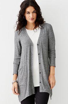 Wearever marled easy dipped-hem jacket- J Jill $109