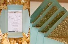 mint & gold wedding invitation
