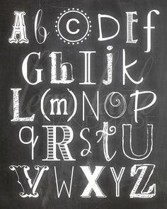 Alphabet Chalkboard Print on Etsy, $5.00