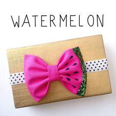 Watermelon bow headband hot pink green glitter bow by SplendidBee