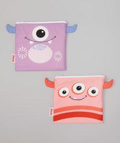 Nûby Purple & Red Monster Reusable Snack Bag Set