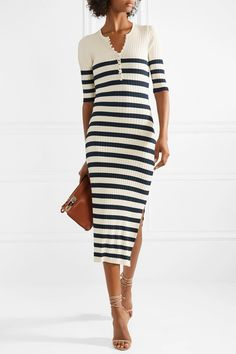 Navy and cream ribbed stretch-knit Button fastenings along front rayon, elite Dry clean Mother-of-pearl: Japan Navy Midi Dress, Striped Dress, Casual Day Dresses, Dress Outfits, Ribbed Dress, Nautical Fashion, Knit Skirt, Bodycon Dress, Short Sleeve Dresses