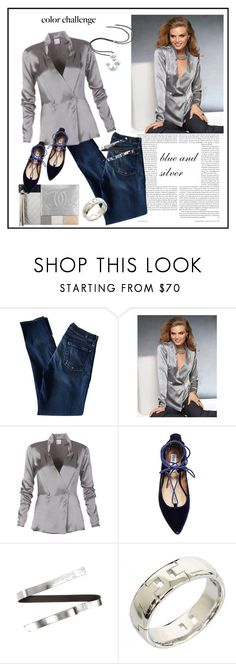 """Rock This Look: Blue and Silver♥♥♥"" by marthalux ❤ liked on Polyvore featuring 7 For All Mankind, Chanel, Steve Madden, Atelier Swarovski, Marni, Hermès, Color, Silver, colorchallenge and blueandsilver"