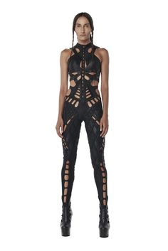 Dystopian Fashion, Cyberpunk Fashion, Human Cyborg, Structured Fashion, Full Body Suit, Body Suit Outfits, Stage Outfits, Black Bodysuit, Cute Outfits