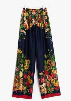 NWT ZARA Floral Printed Viscose Trousers Pants Size M One Size Ref.1753/122 #ZARA #WideLeg