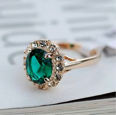 Emerald Green Ring 18K Gold Plated Swarovski Crystal by ChicJw, $5.98