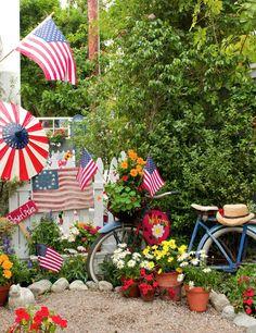 My Painted Garden: Flea Market Gardens Magazine cover!!! Bebe'!!! A flea market garden celebration of the Fourth of July!!!