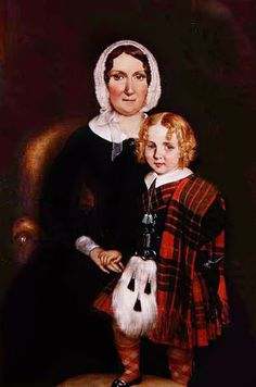 Portrait of a Scottish Woman with her Young Son in Highland Dress. ca.1860