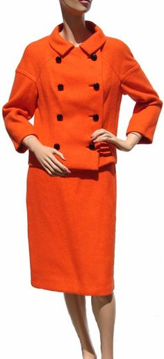 1960s Suit for Ogilvie's Montreal by Bianco Italian Couture in Orange