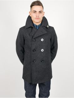 Fidelity Short Peacoat Jacket Wool Dark Grey