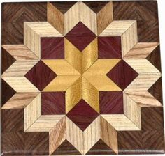 Bright Carpenters Wheel Quilt Block by woodmosaics on Etsy, $35.00