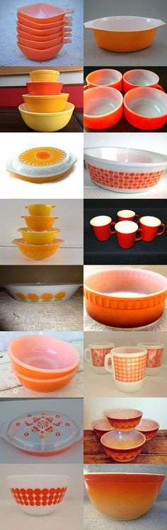 Orange  Pyrex, Fire King, Glasbake by Claudia on Etsy--Pinned with TreasuryPin.com