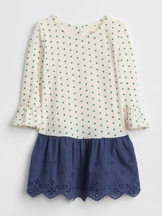 12133220097 Gap Baby Bell-Sleeve Mix-Fabric Dress Ivory Frost Toddler Girl Dresses