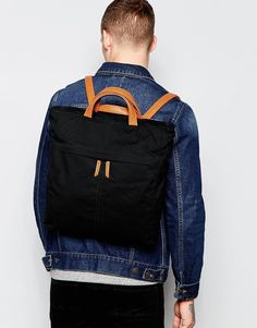 Image 3 ofASOS Backpack Tote Hybrid in Black Canvas