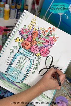 Draw and Paint a Mason Jar with Spring Flowers! Canvas Painting Tutorials, Acrylic Painting For Beginners, Easy Canvas Painting, Jar Painting, Watercolor Tutorials, Painting Videos, Painting Techniques, Canvas Art, Acrylic Painting Flowers