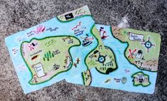 DIY Pirate map -posible party activity. Keepsake for B-day boy or girl. Make copies to send with thank you note or as thank you note??
