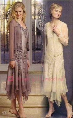 27a6676290d bridefashion 2015 A Line V-Neck Tea Length Mauve Champagne Chiffon  Appliques Sheer Long Sleeve Jacket Plus Size Mother of The Bride Dresses