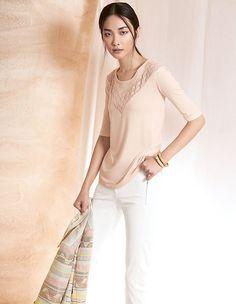Shirt mit Transparenteinsatz   MADELEINE Mode