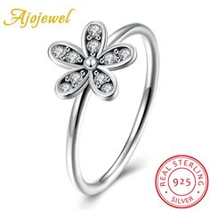 Ajojewel Vintage Style Womens 925 Sterling Silver Ring Flower Jewelry AAA Cubic Zircon Antique Finger Ring 2017 Gifts #Affiliate