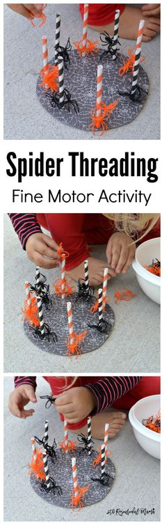 Threading Fine Motor Activity This fun spider threading activity is great for building fine motor skills, hand-eye coordination, learning colors, and developing early math skills. Motor Activities, Autumn Activities, Toddler Activities, Toddler Learning, Theme Halloween, Halloween Crafts, Halloween Week, Halloween Ideas, Fall Preschool