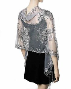 Silver Sequin Wrap Floral Elegant Party Shawl Evening Shawls And Wraps 08a73f39a4a8
