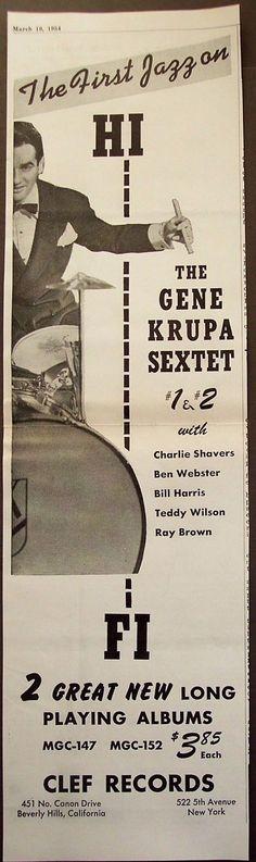 1954 Vintage Music Promo Ad Gene Krupa Sextet Charlie Shavers Ben Webster | eBay