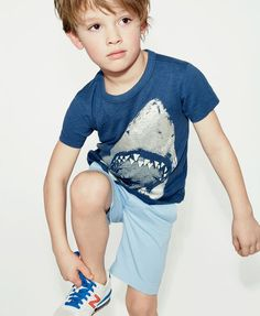 J.Crew boys' glow-in-the-dark shark face T-shirt. To pre-order, call 800 261…