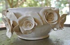 Linen Roses Charm Bowl. $300.00, via Etsy.