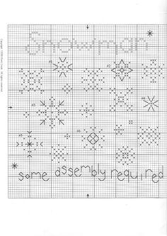 Schema punto croce Snowman 02 . bianco su lino marrone