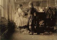 Young girls working in a millinery