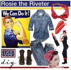 ROSIE THE RIVETER: This historical HBIC Halloween costume has our vote! Put this Halloween look together with a denim button down, red bandana, and bad-ass attitude. Find more Halloween fun and inspiration here!