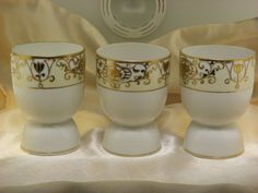 Vintage M Noritake Hand Painted 3 Egg Cup Eggcup Porcelain Holder Gold Trim. #Noritake