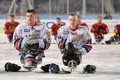A Heroes' Welcome In Windy City: Sled Hockey game at Soldier Field Wounded Warriors Are Right At Home On Soldier Field Ice Hockey Games, Hockey Players, Ice Hockey, Ice Sled, Sledge Hockey, Soldier Field, Blackhawks Hockey, Wounded Warrior, Boston Bruins