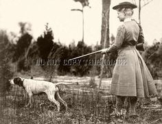 ANTIQUE REPRO 8X10 QUAIL HUNTING PHOTO OF ANNIE OAKLEY > ENGLISH POINTER