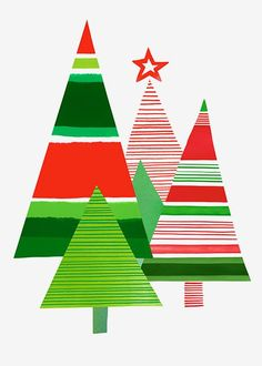 Margaret Berg Art: Christmas Tree Collage Red Green