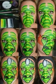Great one stroke dragon face painting design Face Painting Supplies, Face Painting Tips, Face Painting For Boys, Face Painting Tutorials, Face Painting Designs, Paint Designs, Painting Techniques, Body Painting, Face Paintings