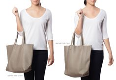 Leather Tote (Tall) Stone
